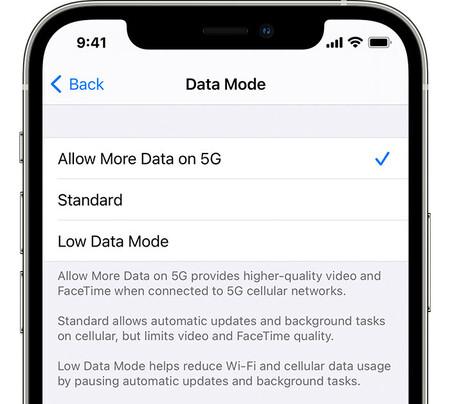 Ios14 Iphone12 Pro-Einstellungen Mobilfunkdatenoptionen Datenmodus