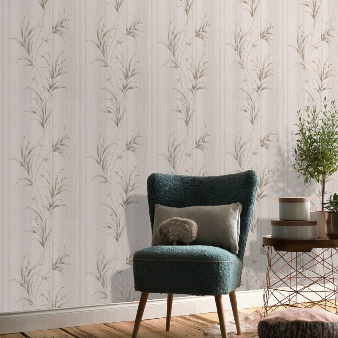Classic beige floral textured look wallpaper