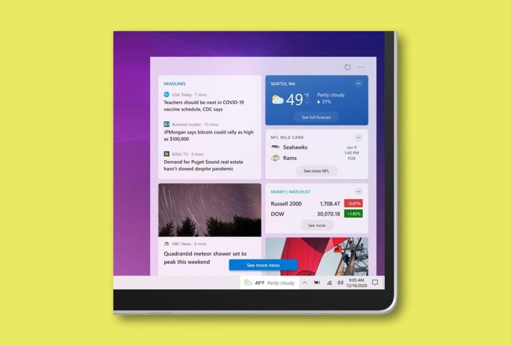 La barra de tareas de Windows 10 añade un widget de tiempo, noticias y más personalizaciones en la última actualización