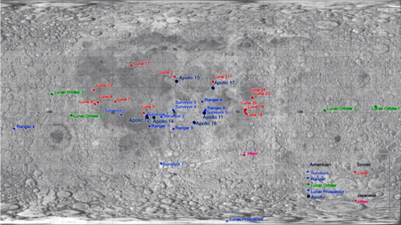 Moon Map Grid Showing Artificial Objects On Moon