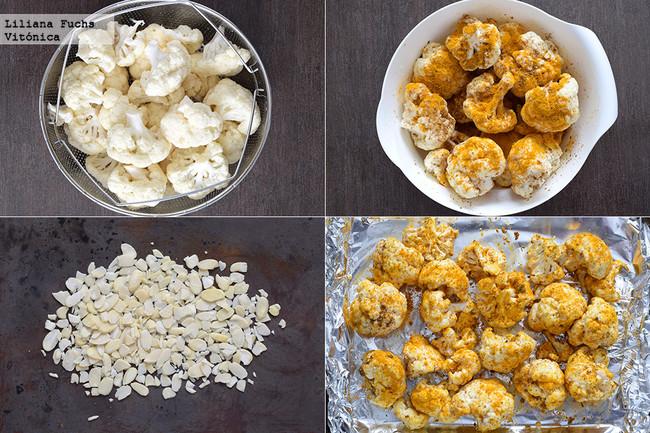 Coliflor asada con especias, almendras y salsa de yogur. Pasos