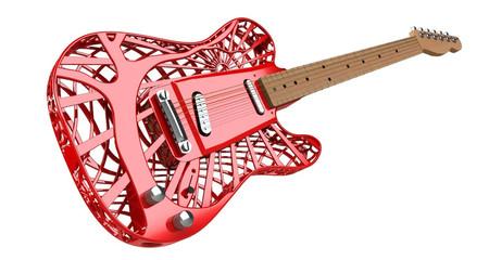 Sunrise 3D Render Printed Guitar