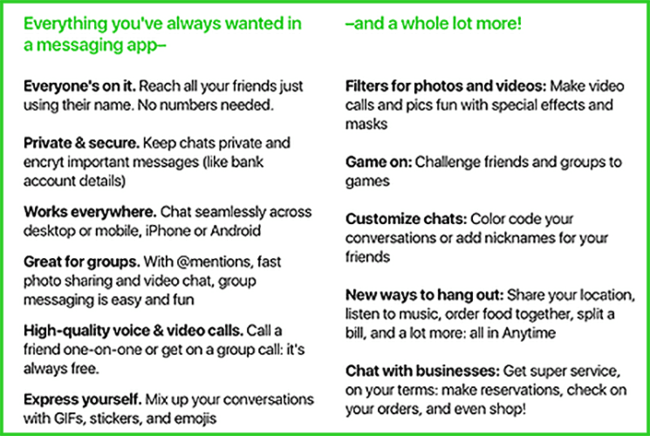 Amazon Anytime Chat Apps Feature List