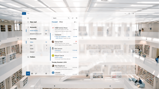 Mail Fluent Design Windows 10 Concepto