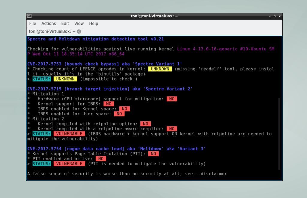Script Linux Consola Check Meltdown Spectre