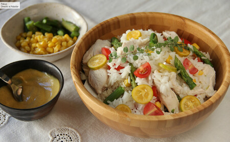 Rice Salad With Roasted Chicken Asparagus And Corn