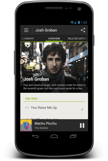 Spotify Android® Artist Large On Device 1339450162