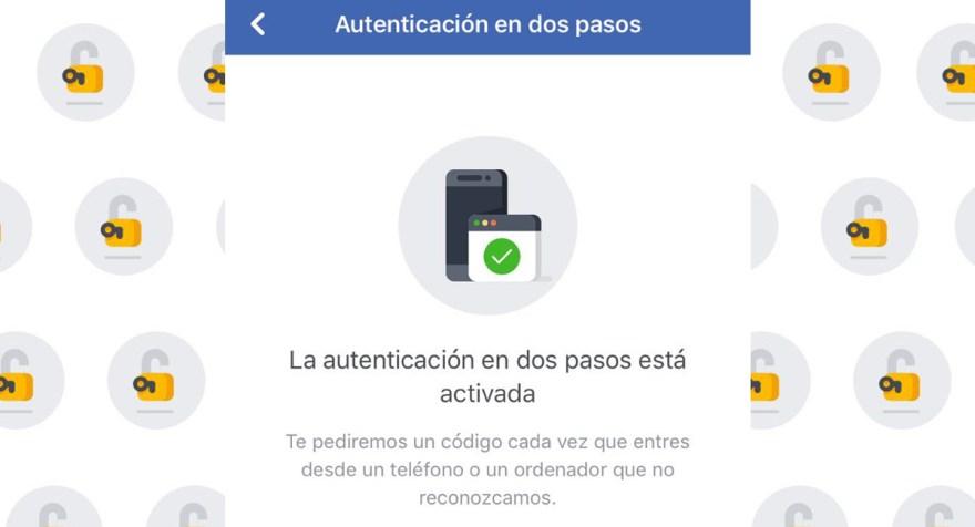 Resultado de imagen para autenticación de dos pasos facebook