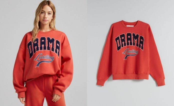 Oversize embroidered print sweatshirt