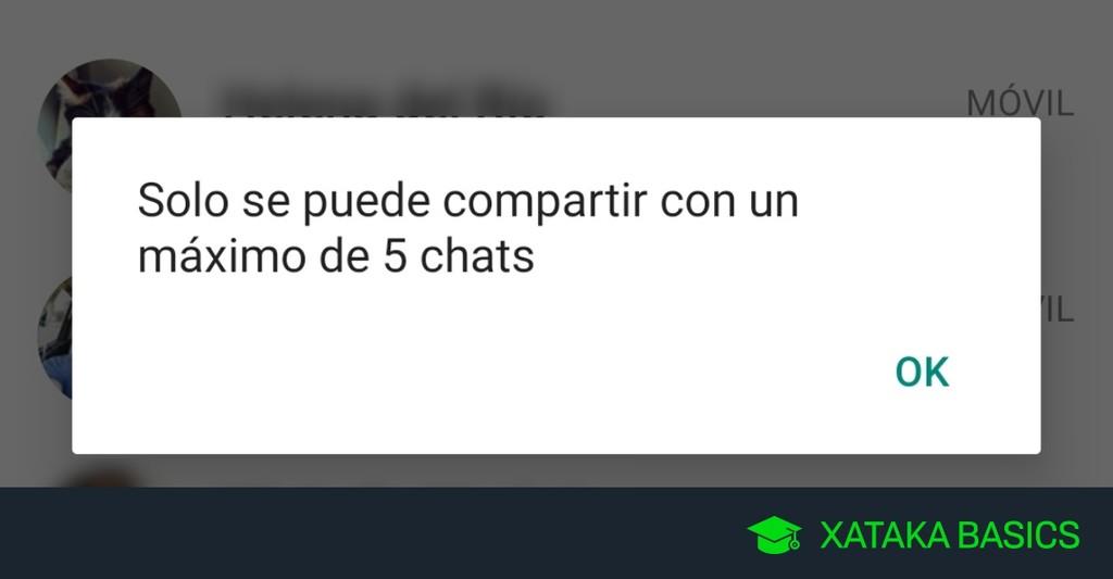 Permalink to 'Sólo se puede compartir con un máximo de 5 chats', por qué WhatsApp te lo dice al compartir mensajes