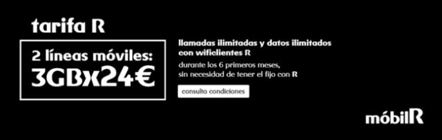 Dos líneas con llamadas ilimitadas y tres gigas por 24 euros, la ultima promoción de mobilR