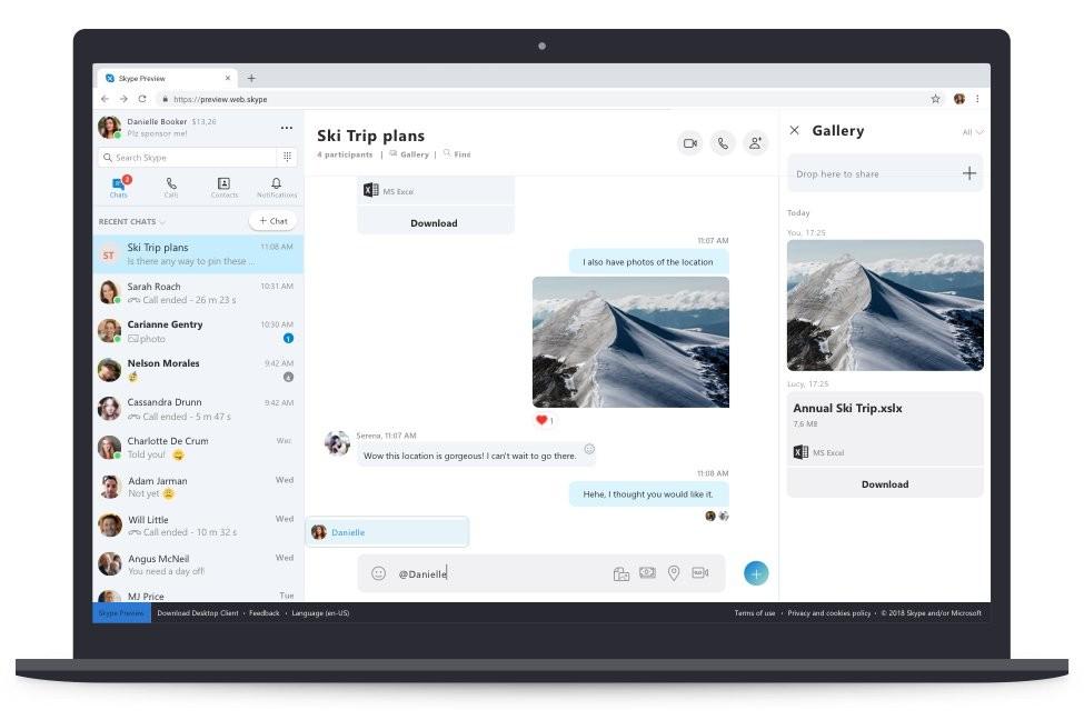 Ya podrias probar el nuevo Skype® para la web(www) con layout renovado y características adicionales
