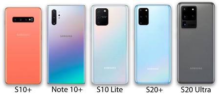 Comparación de traseras del Samsung Galaxy S10+, Note 10+, S10 Lite, S20+ y S20 Ultra (la imagen no está a escala).