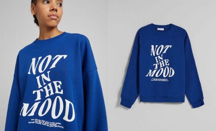 Rib print crew neck sweatshirt