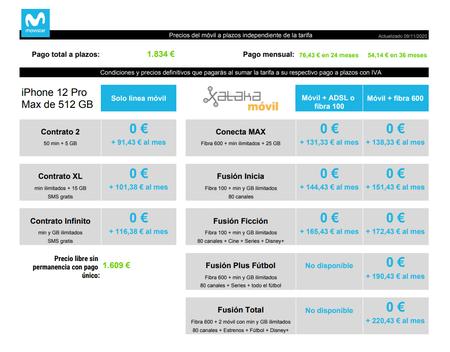 Precios Iphone 12 Pro Max De 512 Gb A Plazos Con Tarifas Movistar