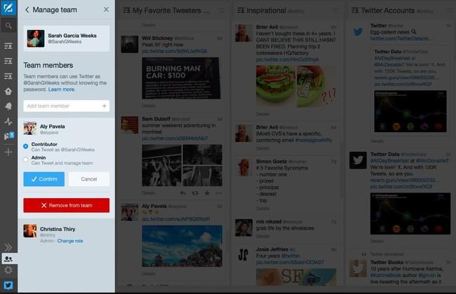 Grupos de visitantes en Tweetdeck