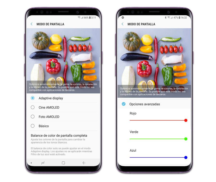 Samsung Galaxy S9+: ajustes de pantalla