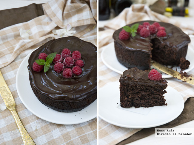 Pastel vegano de chocolate y frambuesas Receta