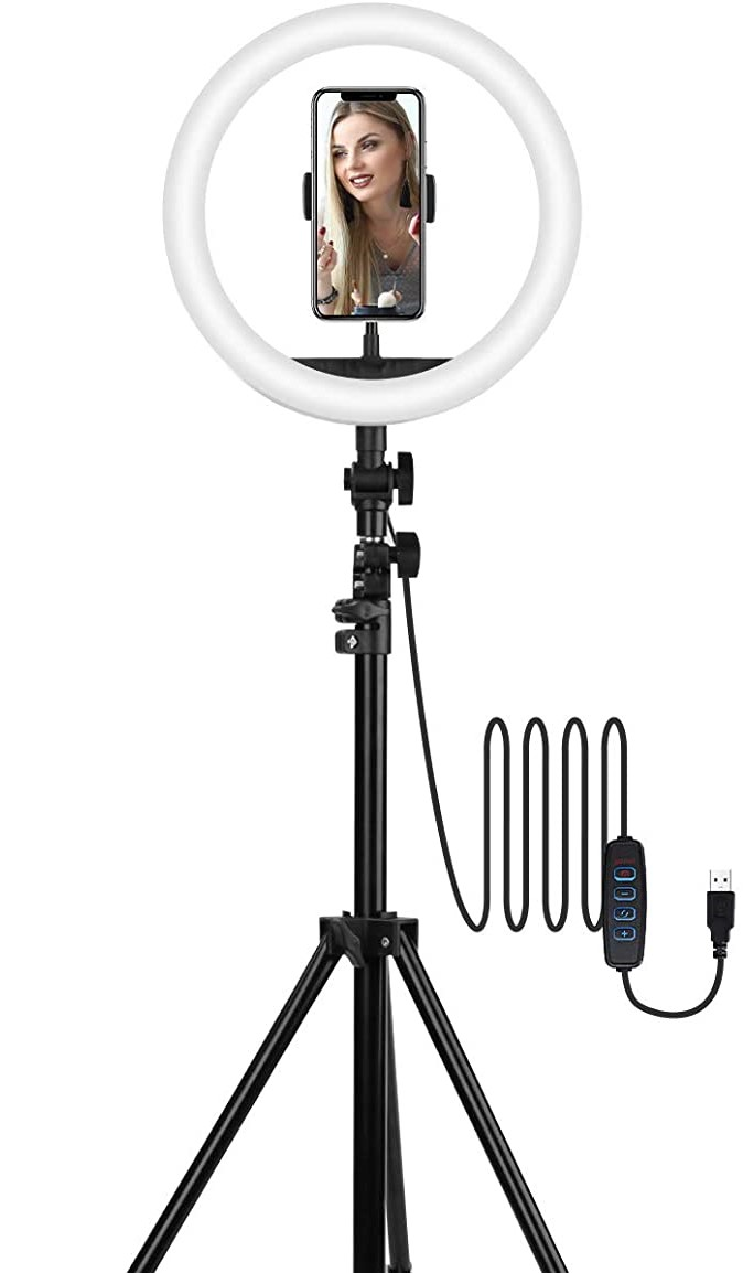 TECHVIDA Aro de Luz Led para Selfies con Trípode   Luz Circular Ajustable LED para Maquillaje   Fotografia   Videos (10 Pulgada)