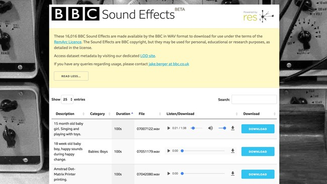 Window Y Bbc Sound Effects Research Education Space