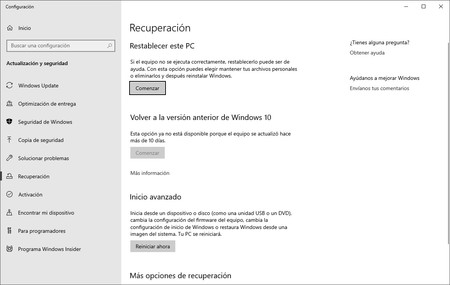 Restablecer Windows 10
