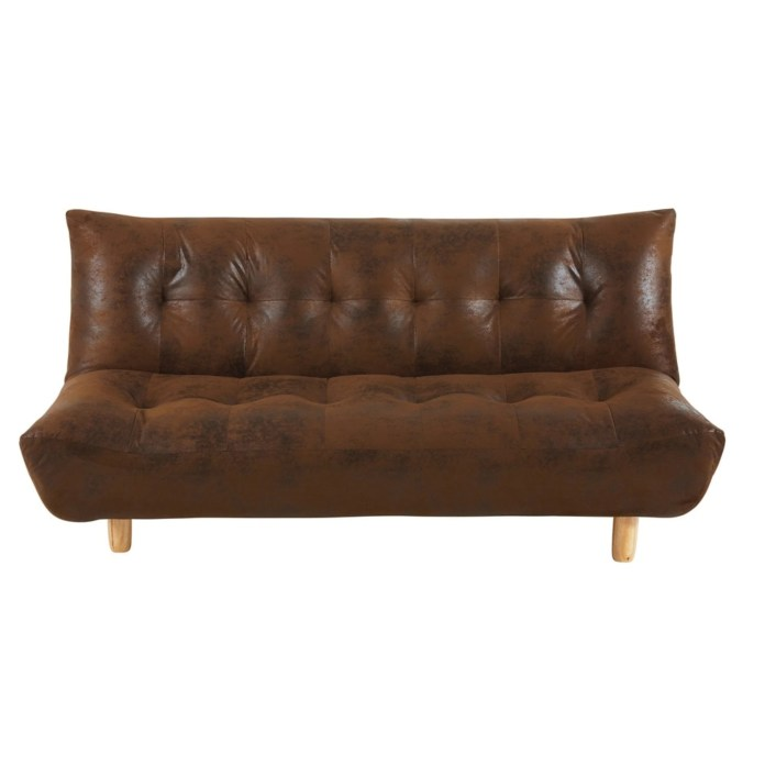 Brown microsuede 3-seater sofa bed