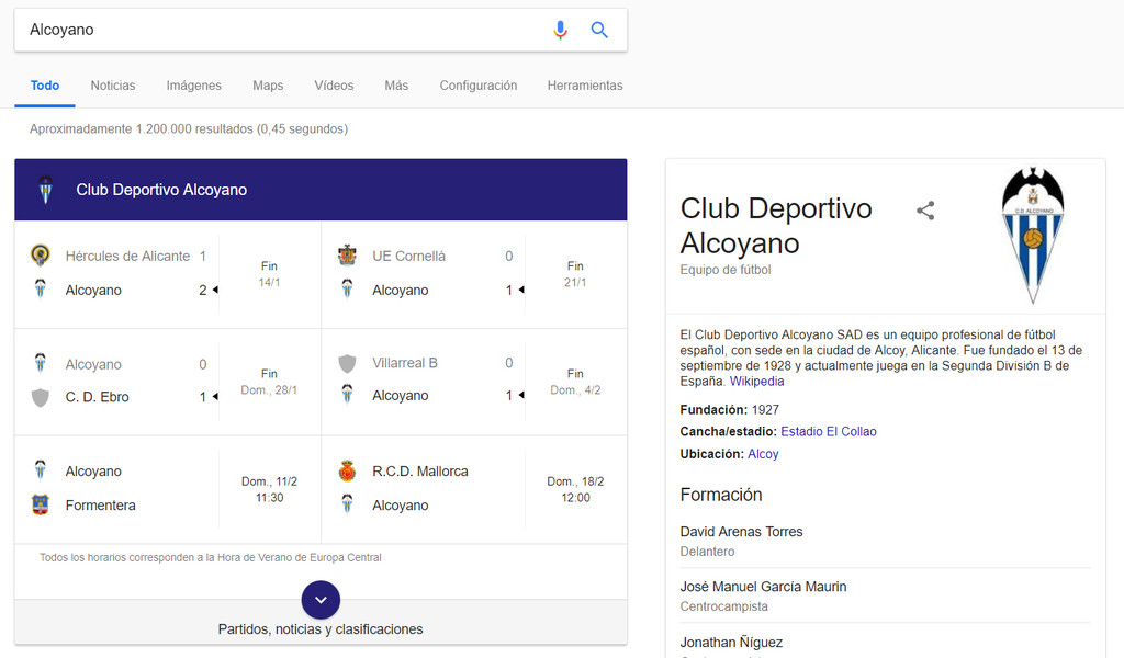 Informacion Equipo Futbol Google