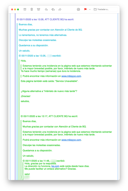 Cadena de mails intercambiada entre el servicio de atención al cliente de BQ y un usuario de una de sus tablets. El SAT le deriva a una web que está inactiva y el usuario replica que no puede acceder a ella, a lo que le responden que lo sienten, pero que no tienen más alternativas.