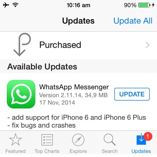 Whatsapp Iphone seis And Iphone seis Plus Update