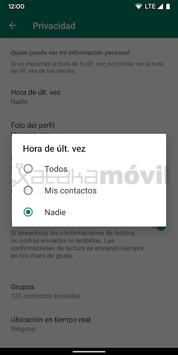 Whatsapp Hora última vez