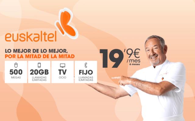 Euskaltel luce promo con fibra a 500 Mbps, terminal con 20 GB y TV por 20 euros, pero no es low cost