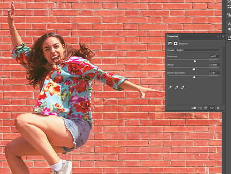 Estilo de color look en photoshop durazno: capa de ajuste exposición