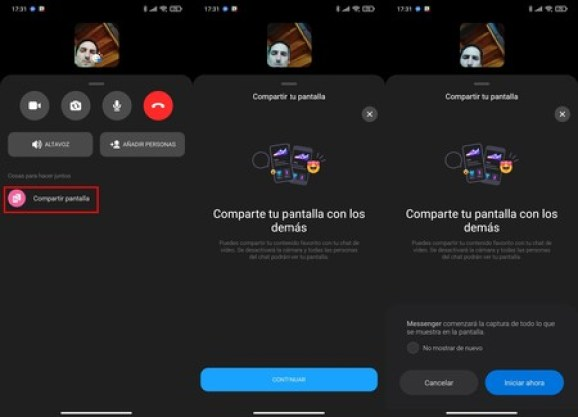 Compartir Pantalla Videollamadas Messenger Facebook