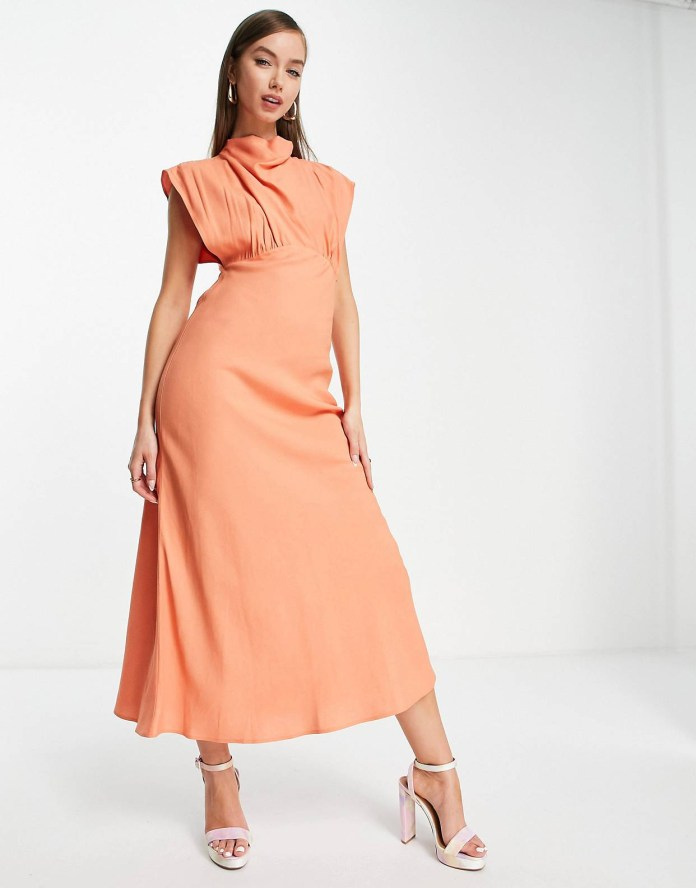 ASOS DESIGN linen turtleneck midi dress in coral