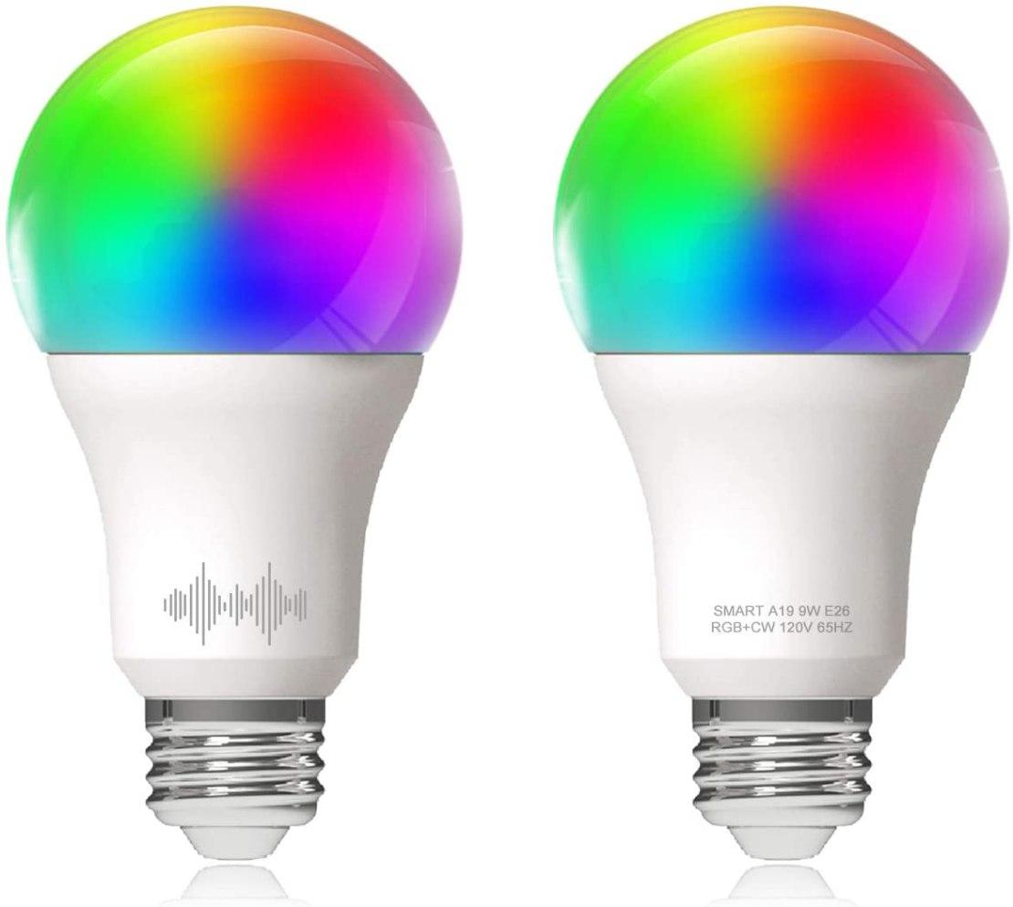 Helloify A19 Smart WiFi bombillas LED, RGBCW cambio de color, blanco cálido a frío regulable, funciona con Alexa y Google Home (sin hub), equivalente a 60 W E26, RGB + 2700 K-6500 K, 2 unidades