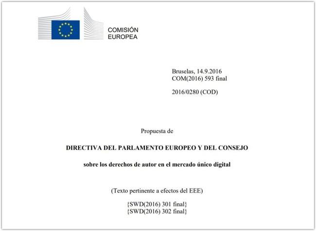 Portada del documento de la propuesta de Directiva del Parlamento Europeo y del Consejo sobre los derechos de autor en el mercado único digital.