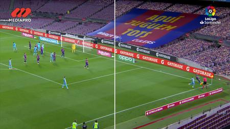 Comparativa del Barcelona - Leganés entre la grada vacía y la grada virtualidad. No se tapa la lona colocada sobre el Camp Nou y los colores de la masa del público se corresponden con los de la equipación local.
