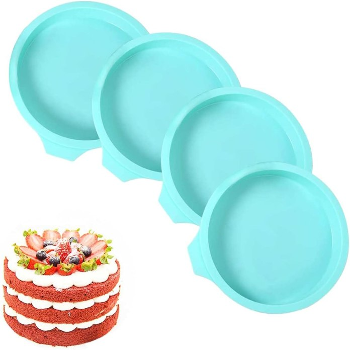 Silicone Cake Mold, 4 pcs 6 inch Round Rainbow Silicone Mold, Silicone Pastry Molds, Silicone Cake Mold, Perfect for making delicious cakes in layers of shape