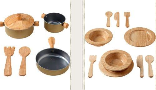 Juguetes de madera vajilla y batera de cocina
