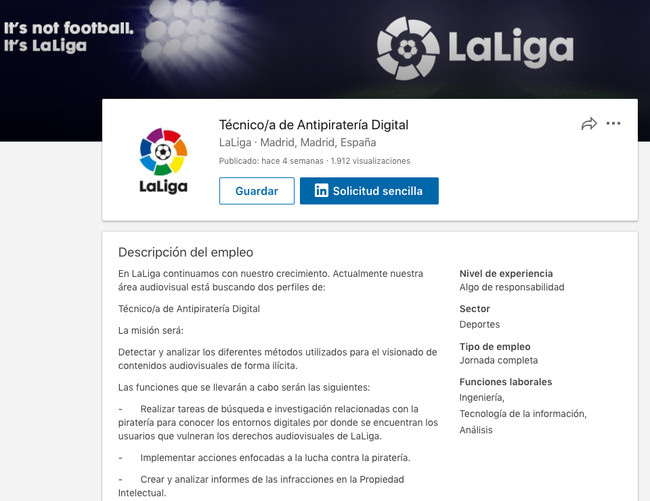 Tecnico A De Antipirateria Digital Laliga Linkedin 2018 03 07 18 doce 14