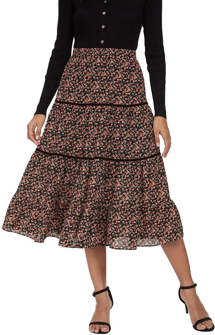 Alcea Rosea Chiffon Skirt for Women A-line Long Flower Skirt High Waist Beach Skirt