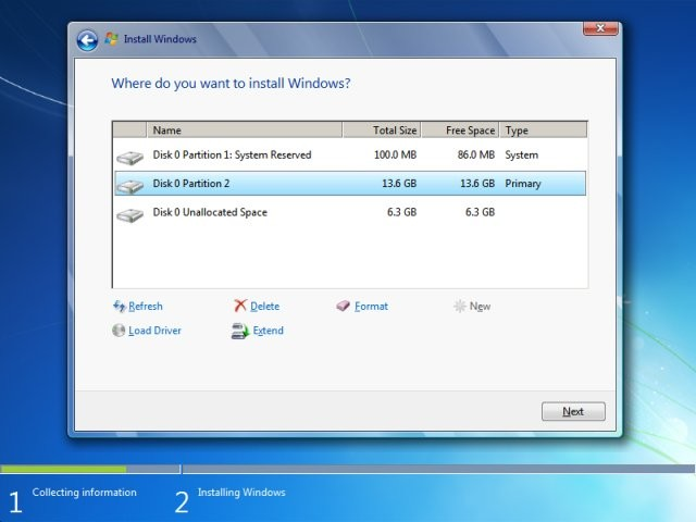 Windows 7 Install Layout