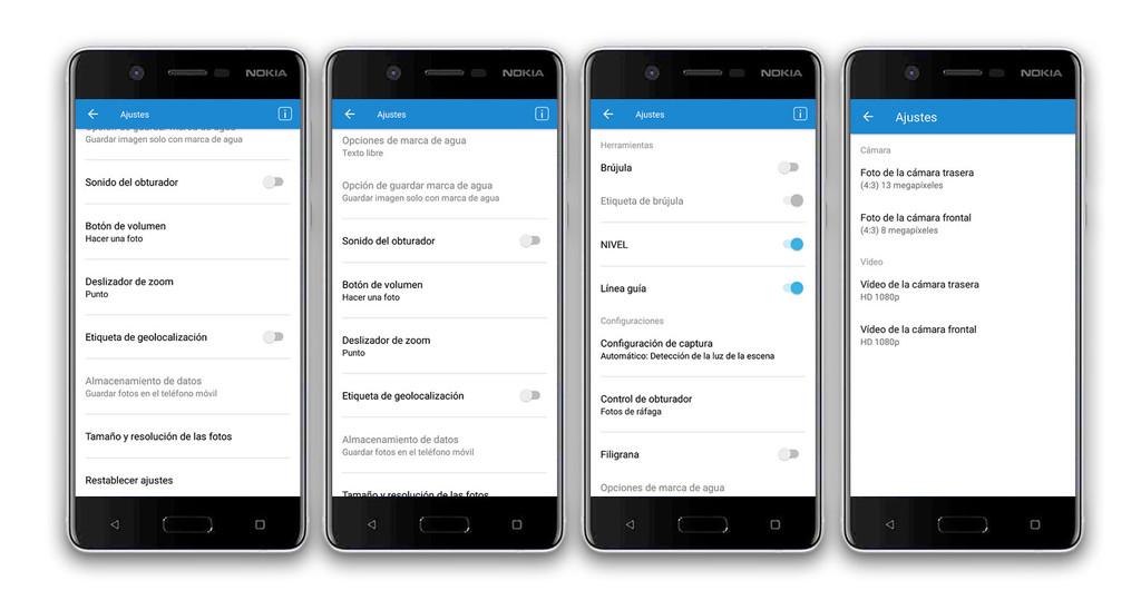 Nokia cinco Ajustes Cámara