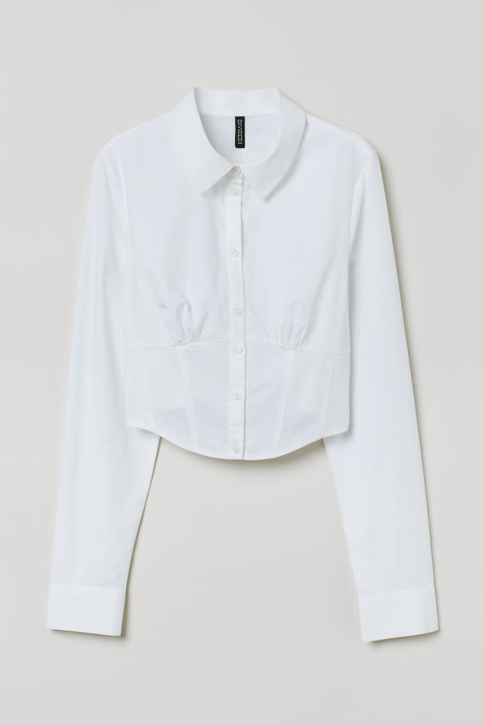 White shirt with corseted design