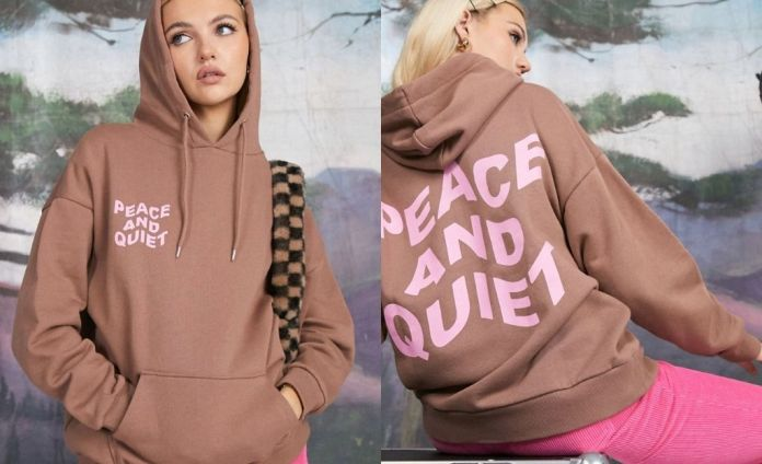 """Oversized brown graphic hoodie """"Peace and quiet"""" by ASOS DESIGN"""