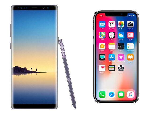 Note ocho Frente A Iphone X En Diseno