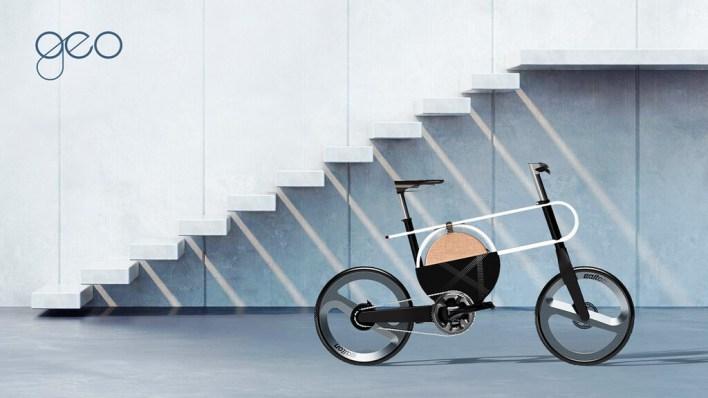GEO es un llamativo y futurista concepto de bicicleta eléctrica lleno de curvas y sin manillas de frenos
