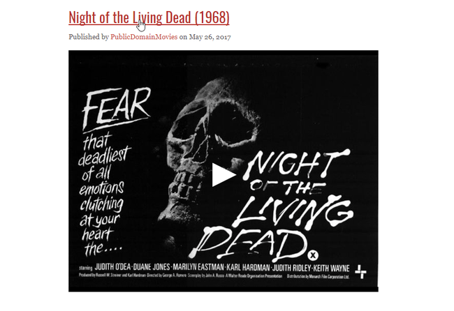 Night Of The Living Dead 1968 Public Domain Movies