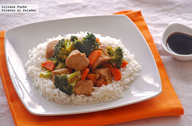 Receta de wok de pollo a la naranja con verduras