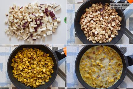 Tortilla de Claras y Berenjena. Pasos